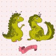 Vector illustration of two cartoon dragons in love. Cute pink card. — Stok Vektör