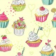 Vector seamless pattern with cupcakes hand drawn in yellow background — Stok Vektör