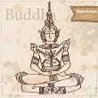 Stock Vector: Vector buddha isolated, hand drawn illustration on vintage paper textured background