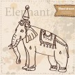 Vector elephant isolated, hand drawn illustration on vintage paper textured background — Stock Vector