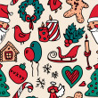 Christmas doodle seamless pattern in color — Stok Vektör