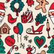 Christmas doodle seamless pattern in color — Stock Vector