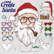 Create your own hipster Santa in color, vector illustration hand drawn on vintage background — Stock Vector