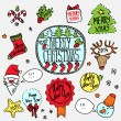 Vector christmas label set hand drawn, colorful doodle illustration — Stock Vector