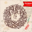 Christmas wreath hand drawn, vector illustration on vintage background — Stock Vector #36832755