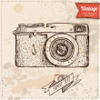 Vector illustration of camera hand draw on vintage paper background, cute label — Stock Vector