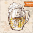 Vector illustration of colorful sketched cup of beer. Hand drawn on vintage background — Stock Vector