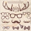 Hipster set: horns, glasses, mustache, bow. — Stock Vector