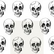 Skull seamless pattern, different emotions, hand drawn vector illustration — Stock Vector