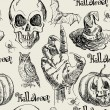 Hand drawn halloween seamless pattern in vector with zombie hand — 图库矢量图片