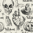 Hand drawn halloween seamless pattern in vector with zombie hand — ストックベクタ