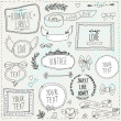 Vintage label set, Hand-drawn doodles and design elements — Imagen vectorial