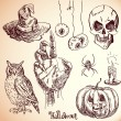 Hand drawn halloween set in vector — Stock Vector