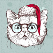 Christmas hipster cat hand draw, sketchy illustration on vintage textured background — Stock Vector
