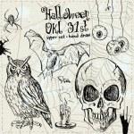 Hand drawn halloween set in vector — Stock Vector