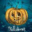 Vector illustration of pumpkin on blue background with web. Happy Halloween — Imagen vectorial