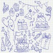 Birthday doodle sketchy vector illustration set, hand drawn icon — Stock Vector