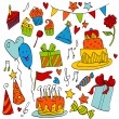 Birthday doodle sketchy vector illustration — Stock Vector