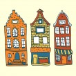 Old Holland houses set, vector illustration — Vector de stock