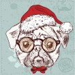 Vintage illustration of hipster santa pug dog with glasses and bow — Stock Vector #36833217