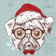 Vintage illustration of hipster santa pug dog with glasses and bow — Stock Vector
