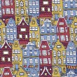 Old Holland houses seamless pattern — Stock Vector