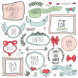 Romantic set of labels and ribbons — Vettoriale Stock
