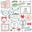 Romantic set of labels and ribbons — Vecteur