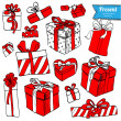 Red gifts hand drawn on white background — Stock Vector