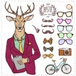 Hipster deer in suit hand drawn — Stock Vector