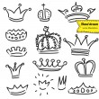 Crowns set in vector, doodle illustration, hand drawn design element isolated — Vettoriali Stock