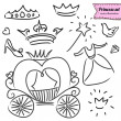 Princess set in vector, doodle illustration, hand drawn design element isolated — Stock Vector