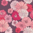 Seamless floral pattern. Hand draw realistic flower with rose and gerber — Grafika wektorowa