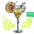 Cocktail Hand drawn — 图库矢量图片