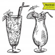 Hand drawn illustration of cocktail. — 图库矢量图片