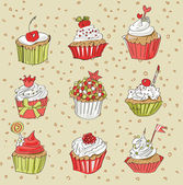 Illustration of vector set of cupcakes — Stock Vector