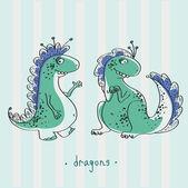 Happy dragons illustration — Stock Vector