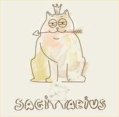 Zodiac sign Sagittarius cat — Stock Vector