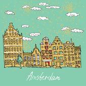 Illustration of amsterdam in vector — Stock Vector