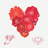 Floral red heart. — Stock Vector