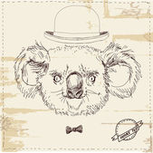 Illustration of koala bear in hat — Stock Vector
