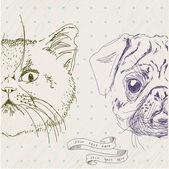 Illustrazione di gatto e cane in vettoriale — Vettoriale Stock
