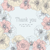 Thank you vector in floral frame — Vector de stock
