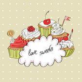 Illustratie van kleurrijke vector cupcakes — Stockvector