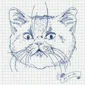 方眼上のベクター猫頭 — ストックベクタ