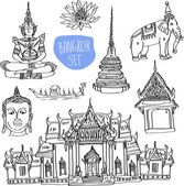 Illustration of vector set of Bangkok (Thailand) with temple, buddha, elephant and lotus isolated on white background — Stock Vector