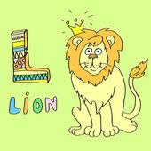 L - děti abeceda lev. — Stock vektor