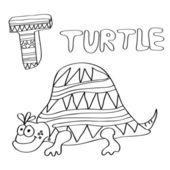 T - niños alfabeto tortuga — Vector de stock