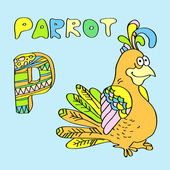P - kids alphabet parrot. — Stockvektor