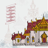 Asian temple in Bangkok, vector illustration — Vector de stock